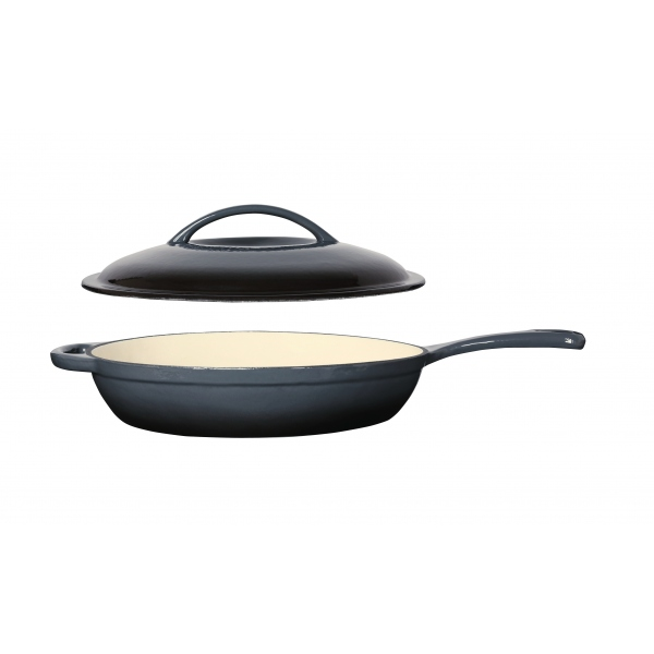 Charcoal Cast Iron Frypan with Lid 30cm